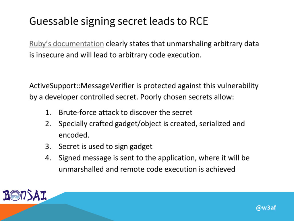 @w3af Guessable signing secret leads to RCE Rub...
