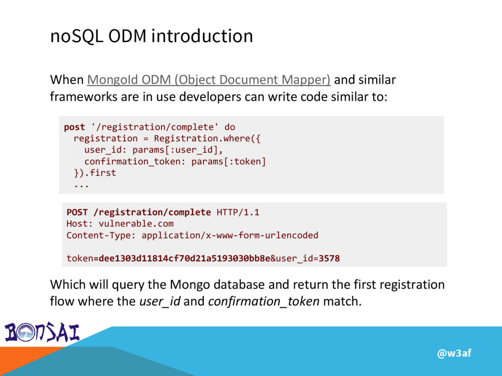 @w3af noSQL ODM introduction When MongoId ODM (...