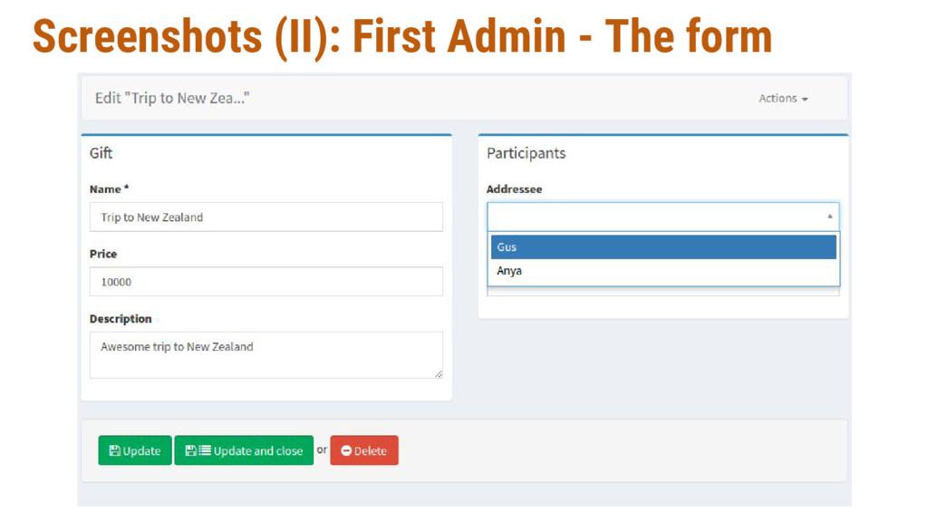 Screenshots (II): First Admin - The form