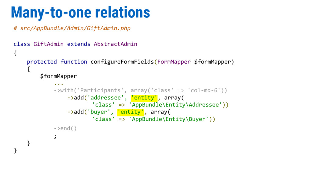 Many-to-one relations # src/AppBundle/Admin/Gif...