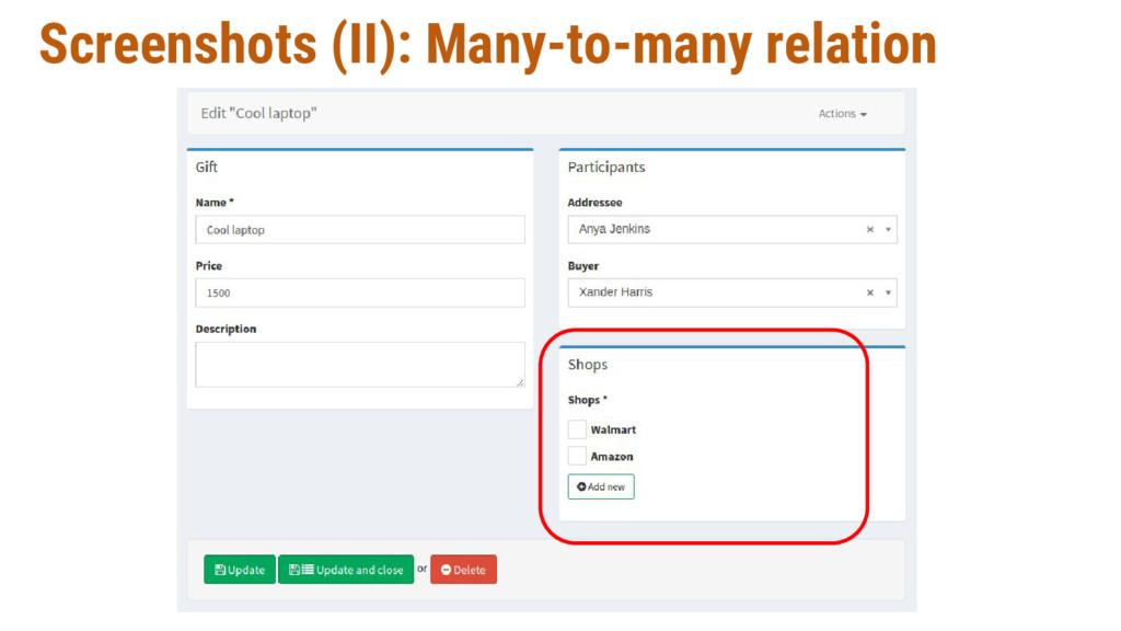Screenshots (II): Many-to-many relation