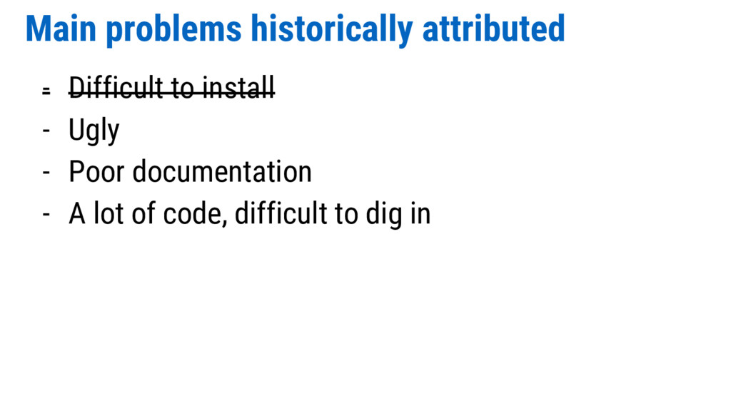 Main problems historically attributed - Difficu...
