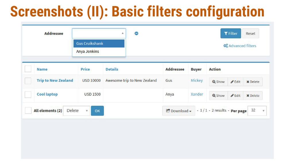 Screenshots (II): Basic filters configuration