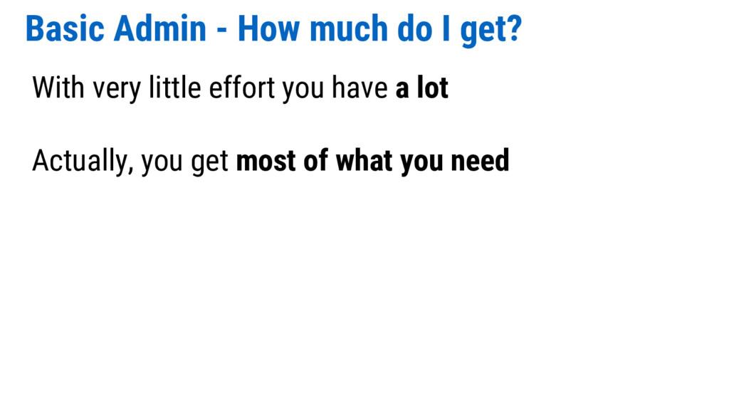 Basic Admin - How much do I get? With very litt...