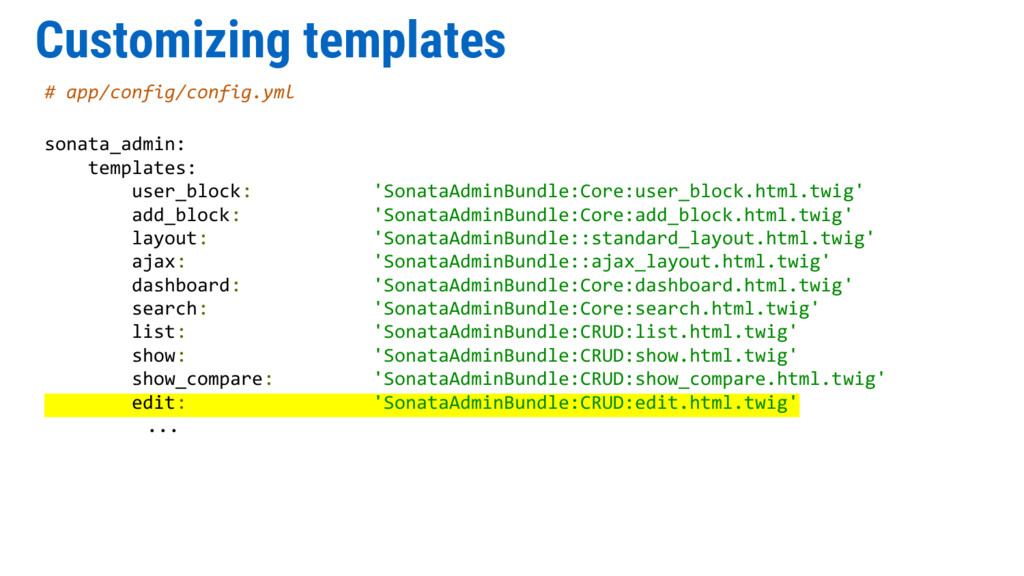 Customizing templates # app/config/config.yml s...