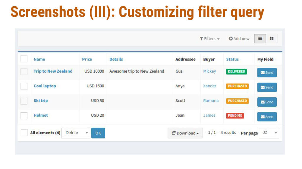Screenshots (III): Customizing filter query