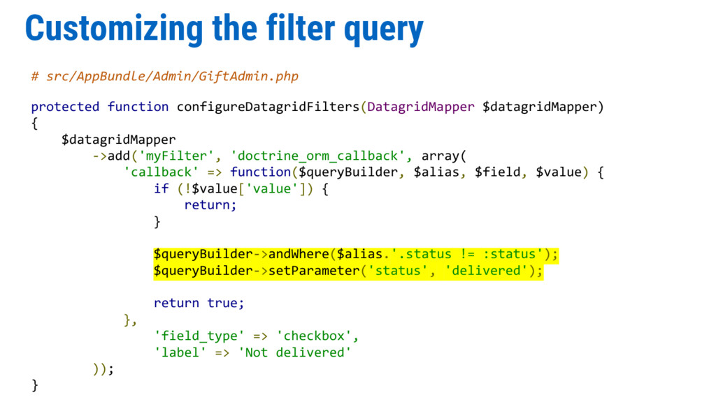 Customizing the filter query # src/AppBundle/Ad...