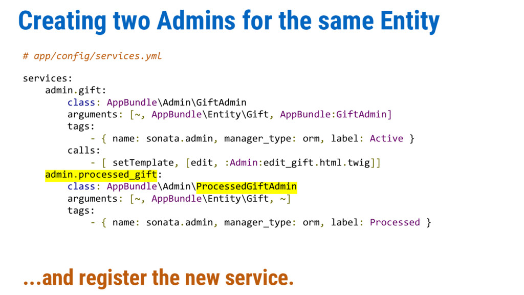 Creating two Admins for the same Entity # app/c...