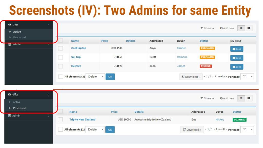 Screenshots (IV): Two Admins for same Entity
