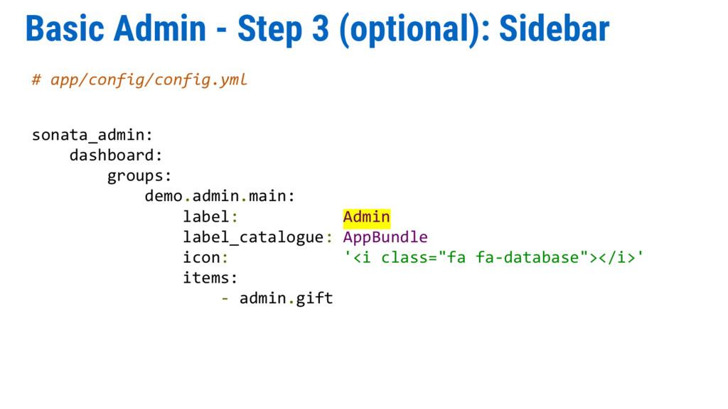 Basic Admin - Step 3 (optional): Sidebar # app/...