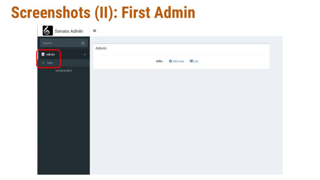 Screenshots (II): First Admin