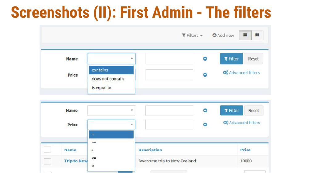 Screenshots (II): First Admin - The filters