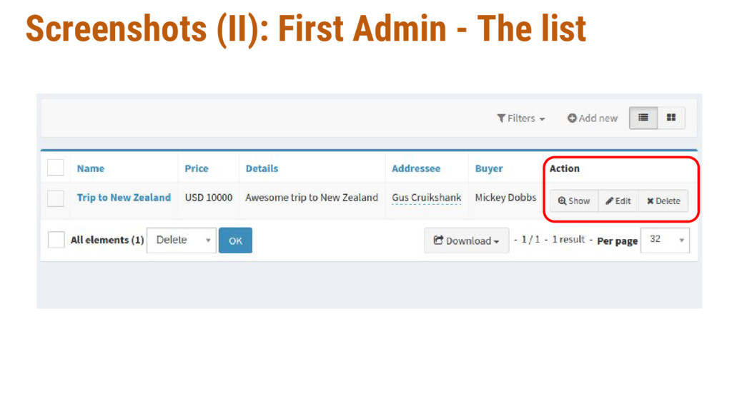 Screenshots (II): First Admin - The list