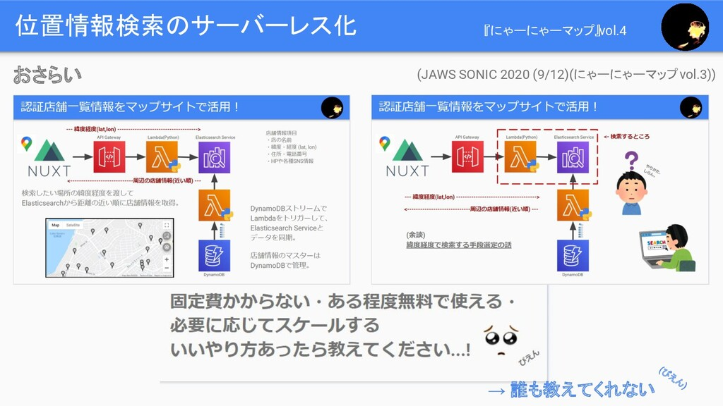 位置情報検索のサーバーレス化 (JAWS SONIC 2020 (9/12)(にゃーにゃーマッ...