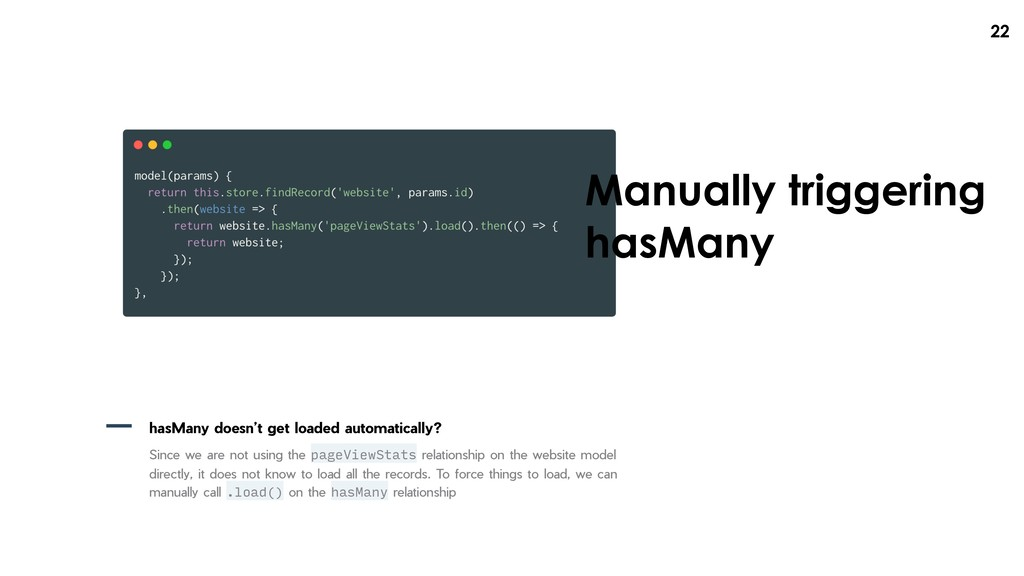 !22 Manually triggering hasMany hasMany doesn't...