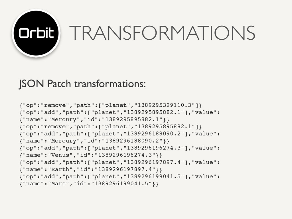 """TRANSFORMATIONS JSON Patch transformations: {""""o..."""