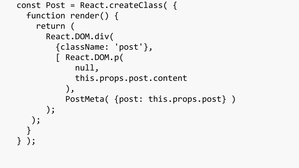 const Post = React.createClass( { function rend...