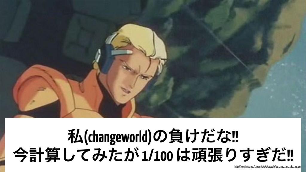 ࢲ(changeworld)ͷෛ͚ͩͳ!! ࠓܭͯ͠Έ͕ͨ 1/100 ؤுΓ͗ͩ͢!! ...