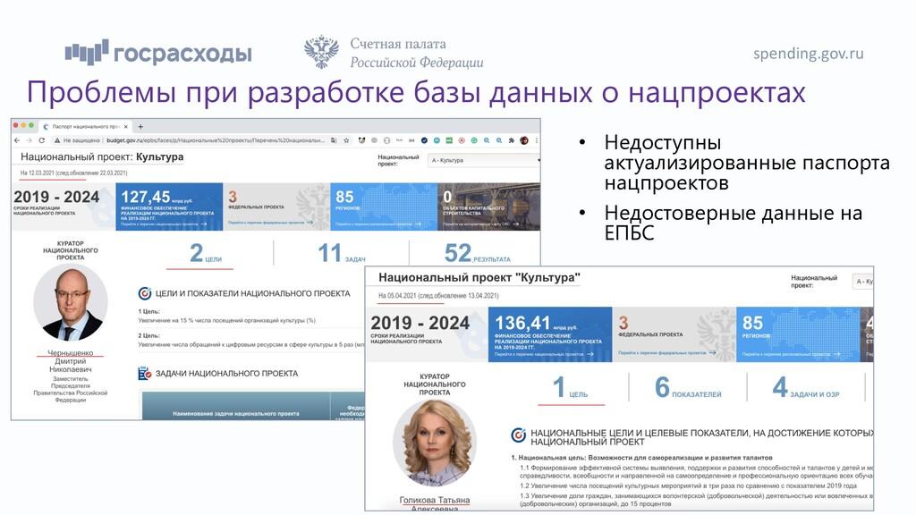 spending.gov.ru 38 Проблемы при разработке базы...