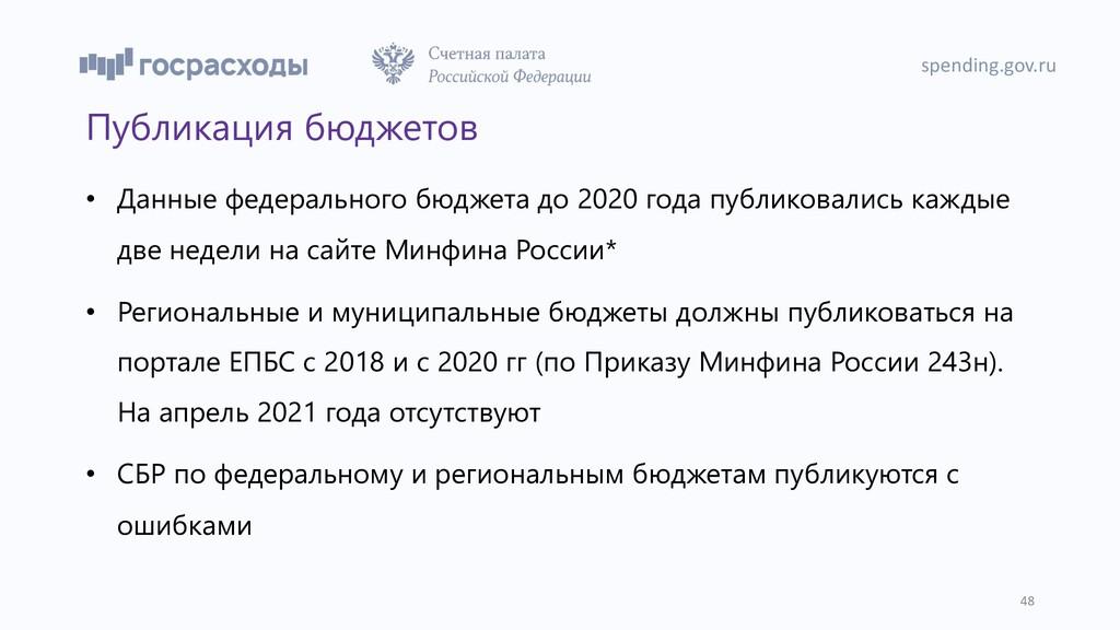 spending.gov.ru 48 Публикация бюджетов • Данные...