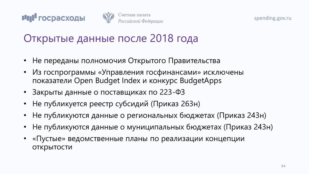 Открытые данные после 2018 года • Не переданы п...