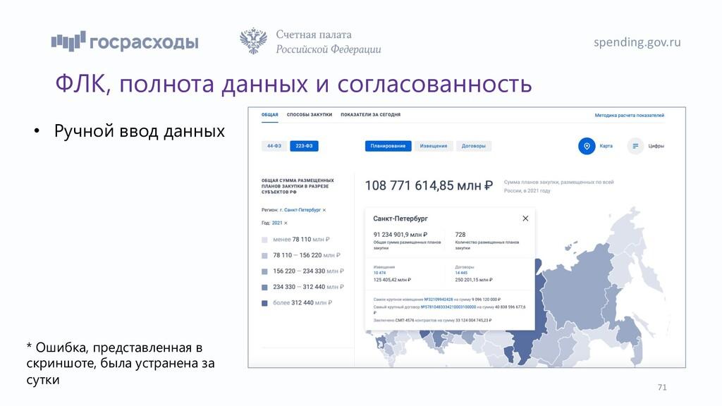 spending.gov.ru 71 ФЛК, полнота данных и соглас...