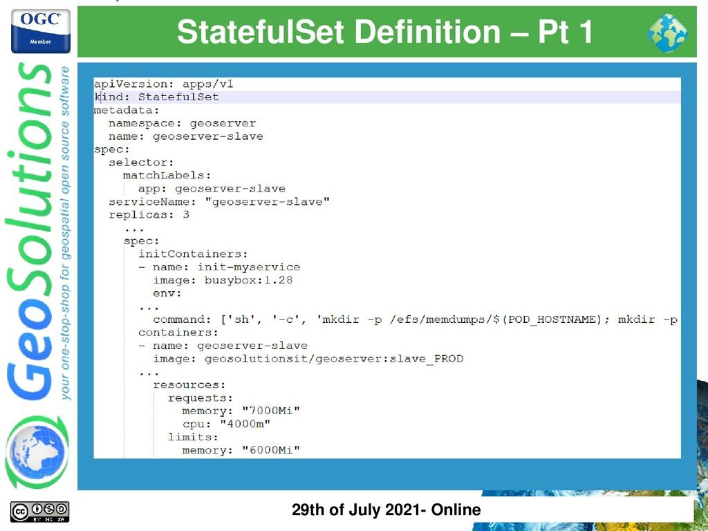 StatefulSet Definition – Pt 1 29th of July 2021...