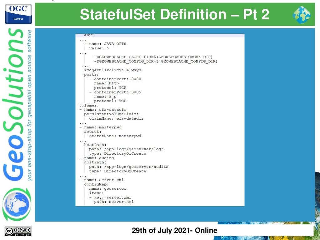 StatefulSet Definition – Pt 2 29th of July 2021...