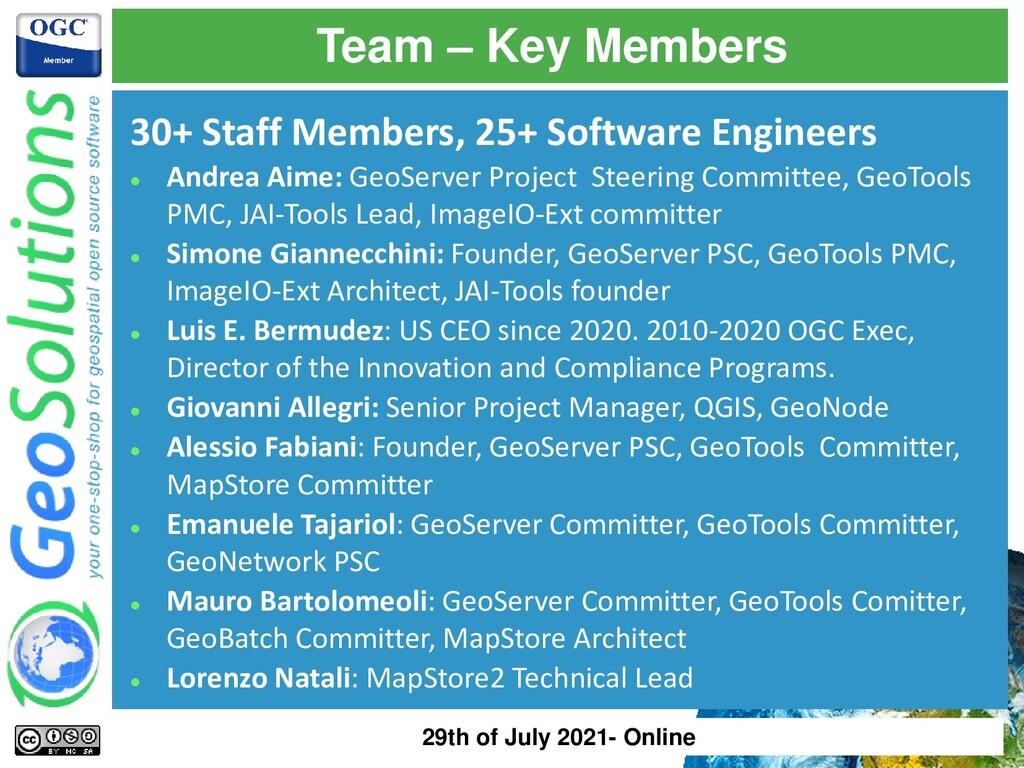 Team – Key Members 30+ Staff Members, 25+ Softw...