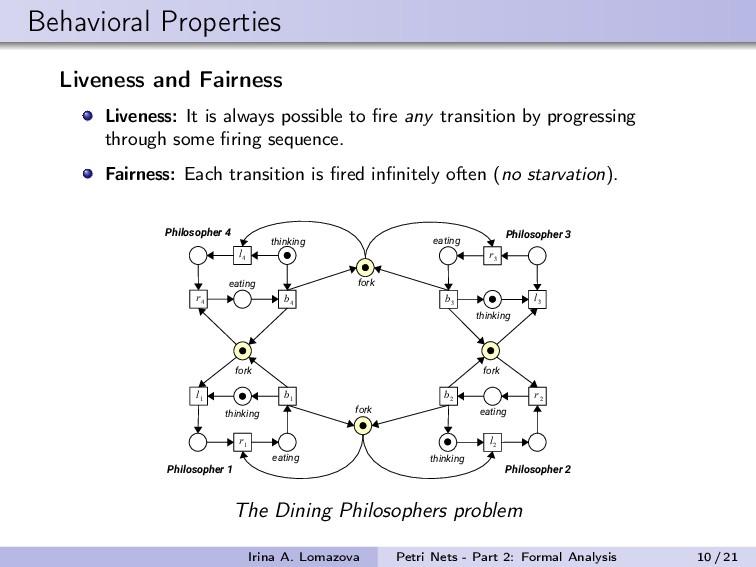 Behavioral Properties Liveness and Fairness Liv...