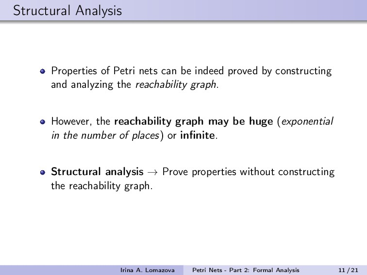Structural Analysis Properties of Petri nets ca...