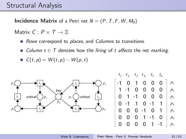 Structural Analysis Incidence Matrix of a Petri...