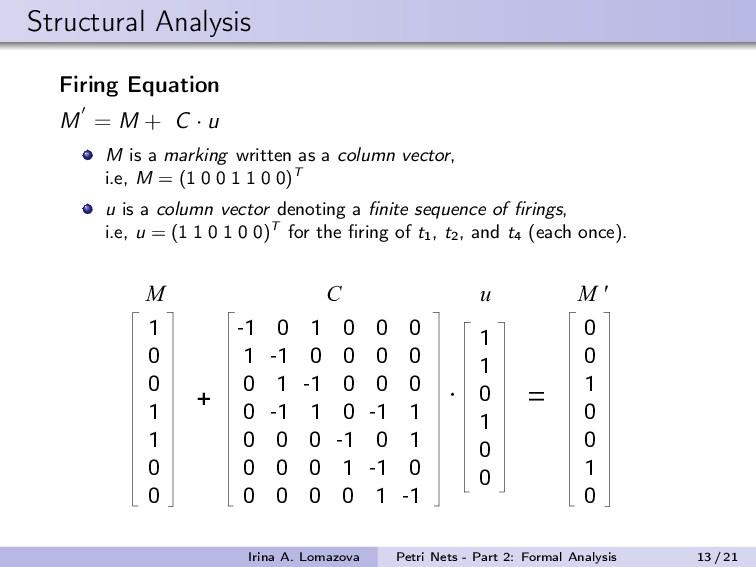 Structural Analysis Firing Equation M = M + C ·...