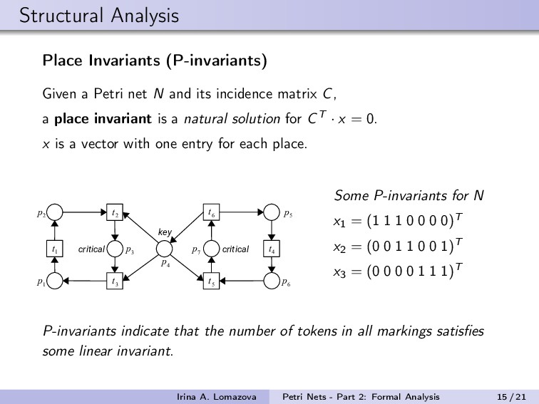 Structural Analysis Place Invariants (P-invaria...