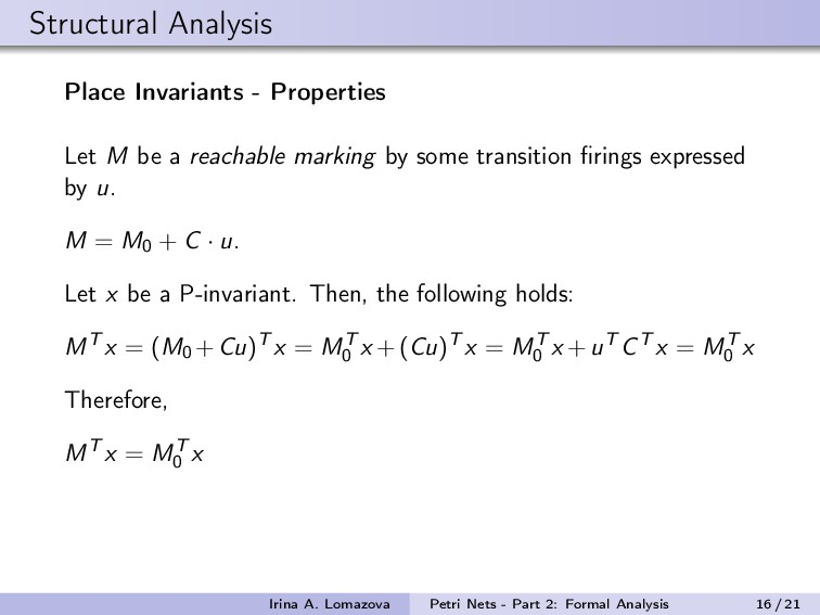 Structural Analysis Place Invariants - Properti...