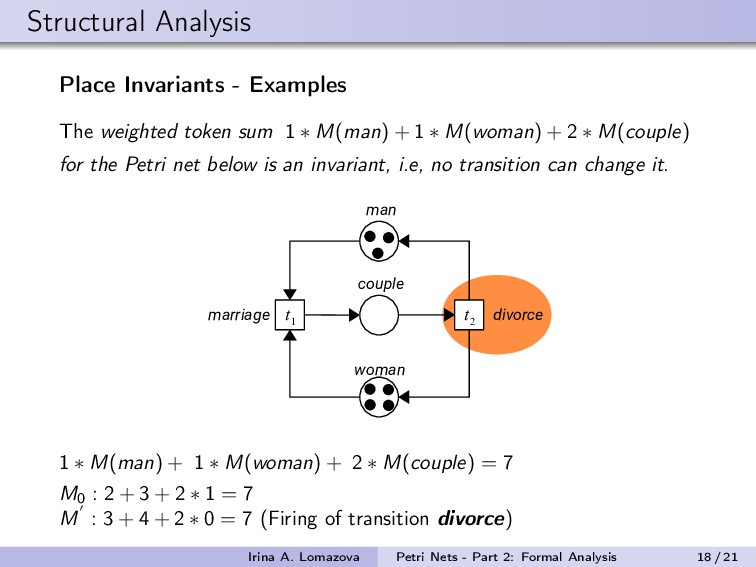 Structural Analysis Place Invariants - Examples...