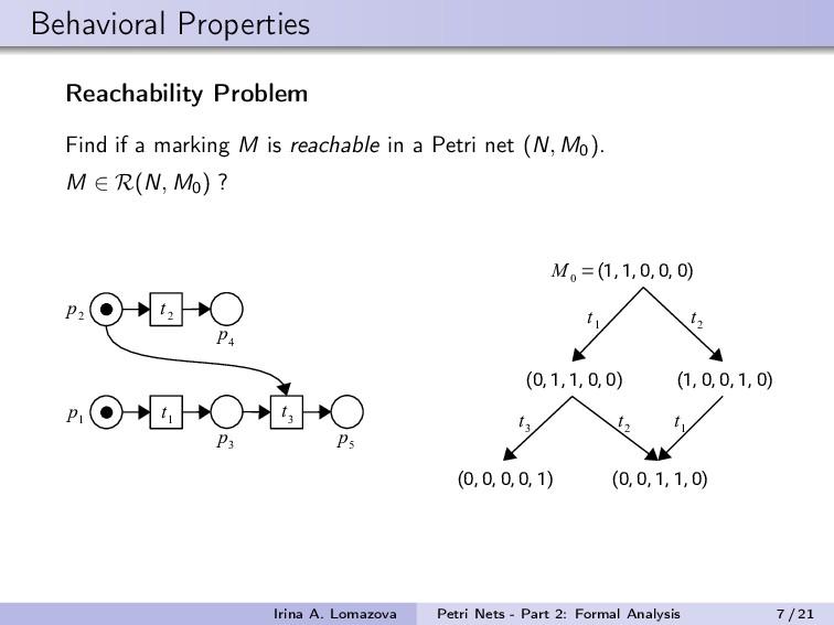 Behavioral Properties Reachability Problem Find...