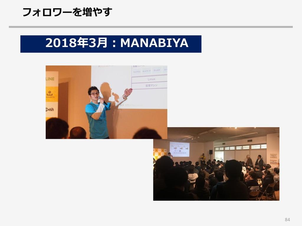 84 2018年3月:MANABIYA フォロワーを増やす