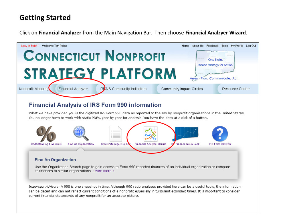 Getting Started Click on Financial Analyzer fro...