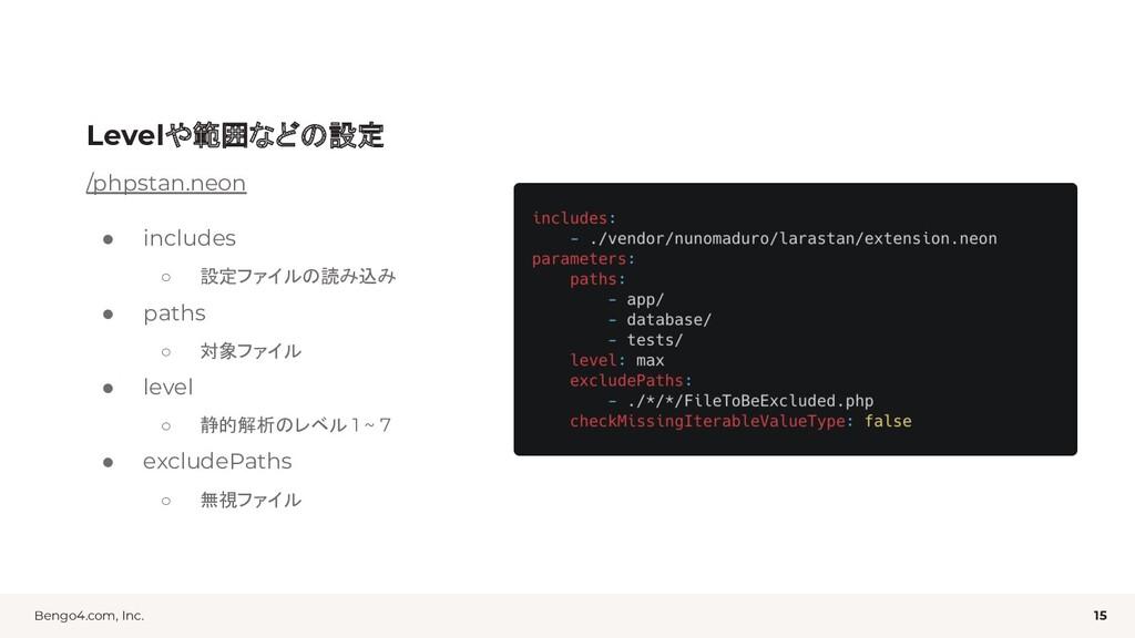 Bengo4.com, Inc. Levelや範囲などの設定 15 /phpstan.neon...