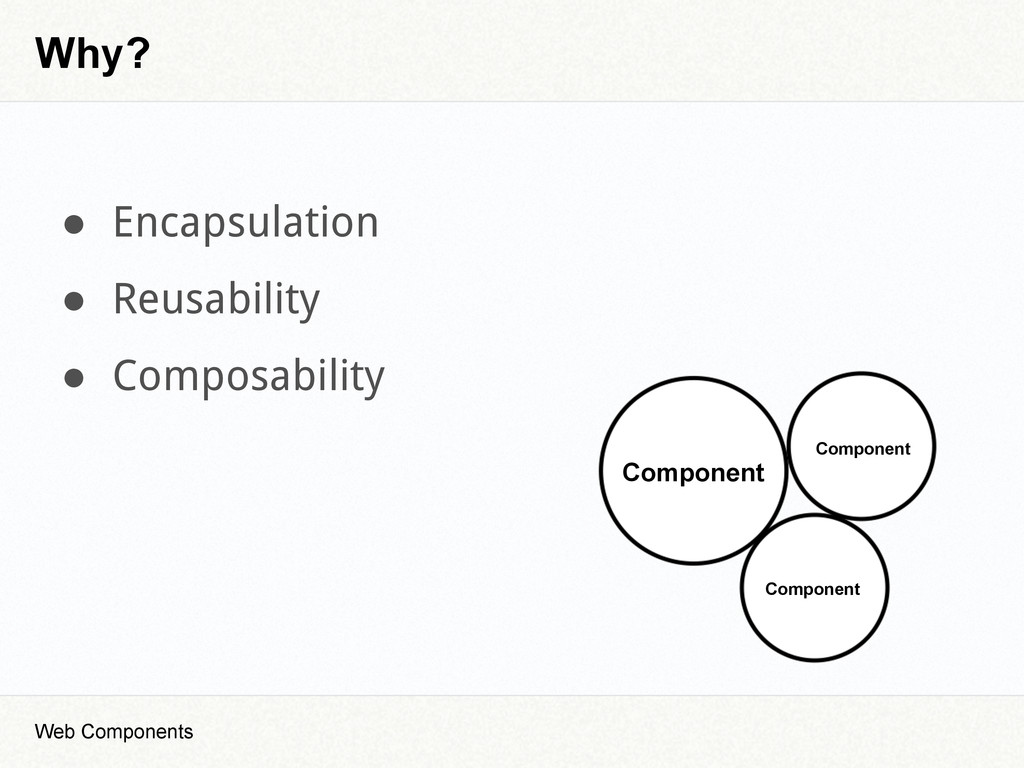 Why? Component Component Component ● Encapsulat...