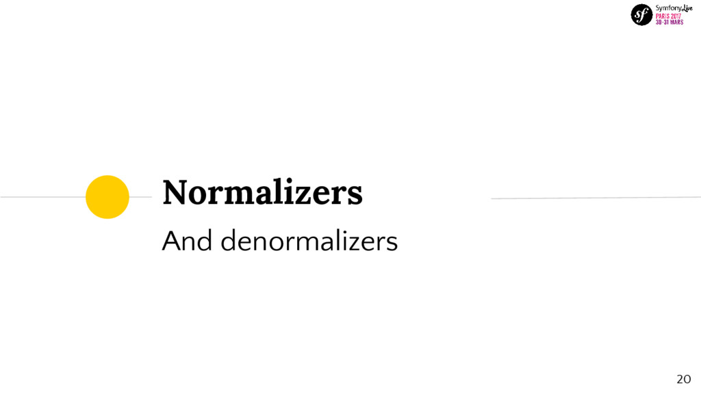20 And denormalizers Normalizers