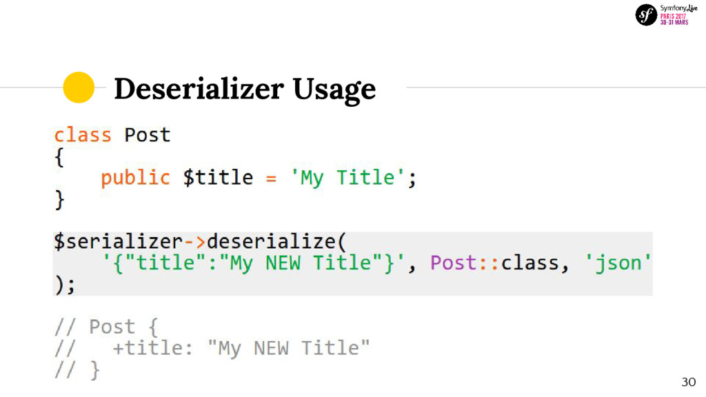 Deserializer Usage 30