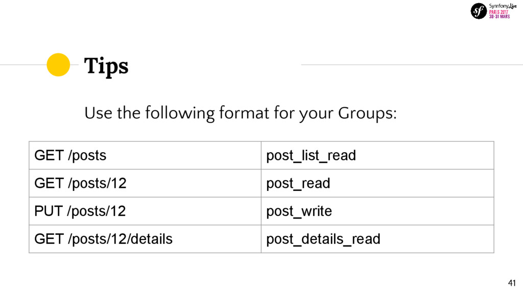 Tips Use the following format for your Groups: ...