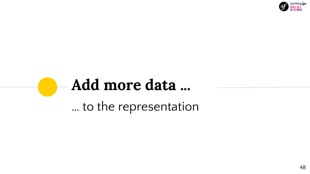 Add more data ... … to the representation 48