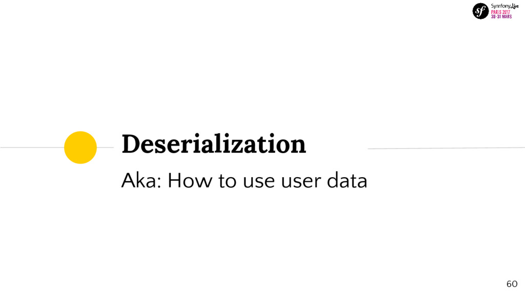 Deserialization Aka: How to use user data 60