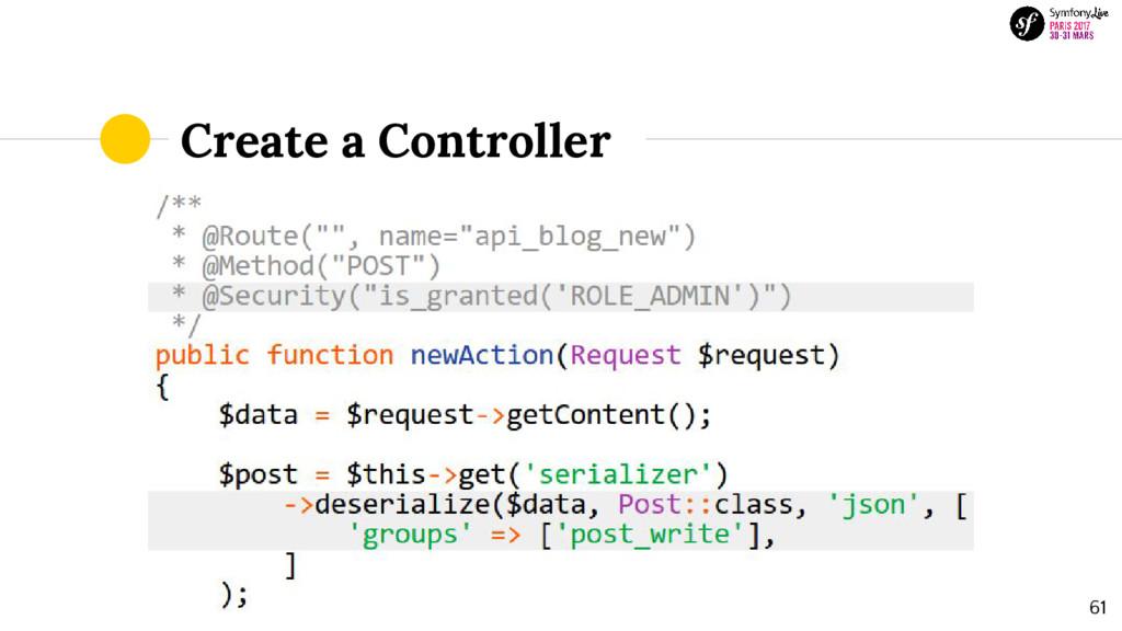 Create a Controller 61