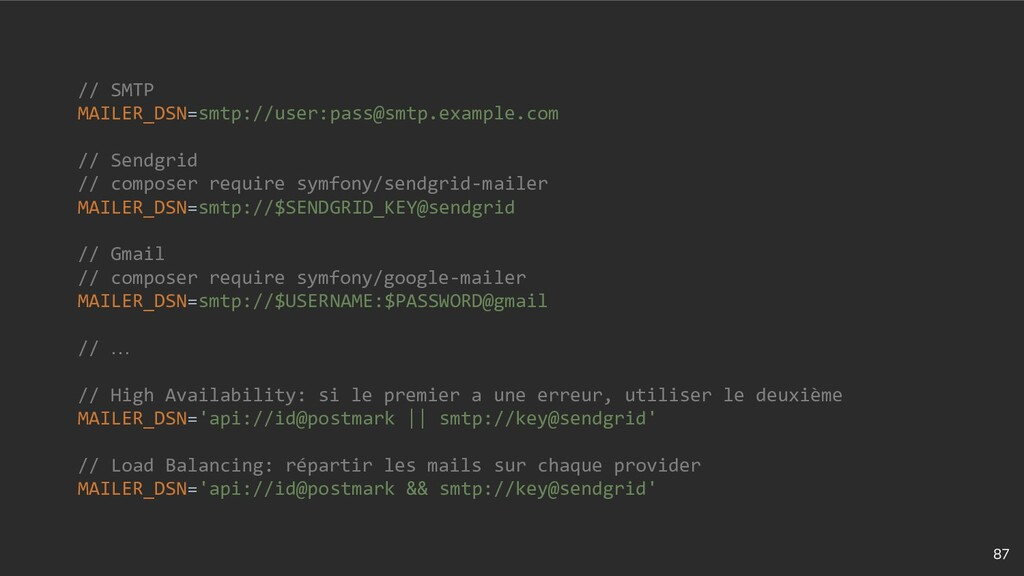 87 // SMTP MAILER_DSN=smtp://user:pass@smtp.exa...