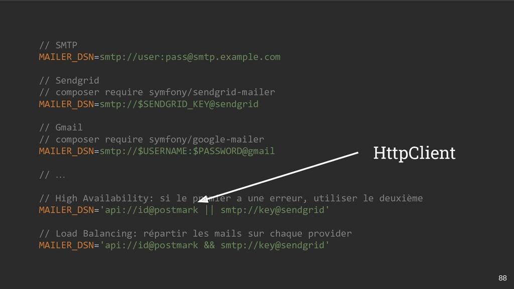 88 // SMTP MAILER_DSN=smtp://user:pass@smtp.exa...