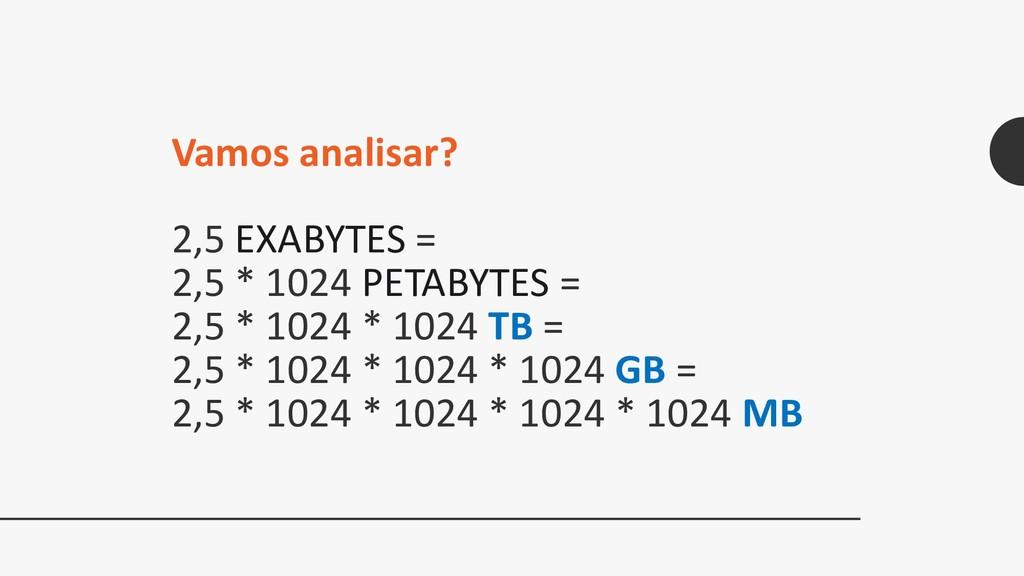 2,5 EXABYTES = 2,5 * 1024 PETABYTES = 2,5 * 102...
